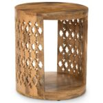 steve silver accents contemporary brinley round end table products color threshold parquet accent accentsbrinley iron wine rack with glass holder furniture for the home pork pie 150x150