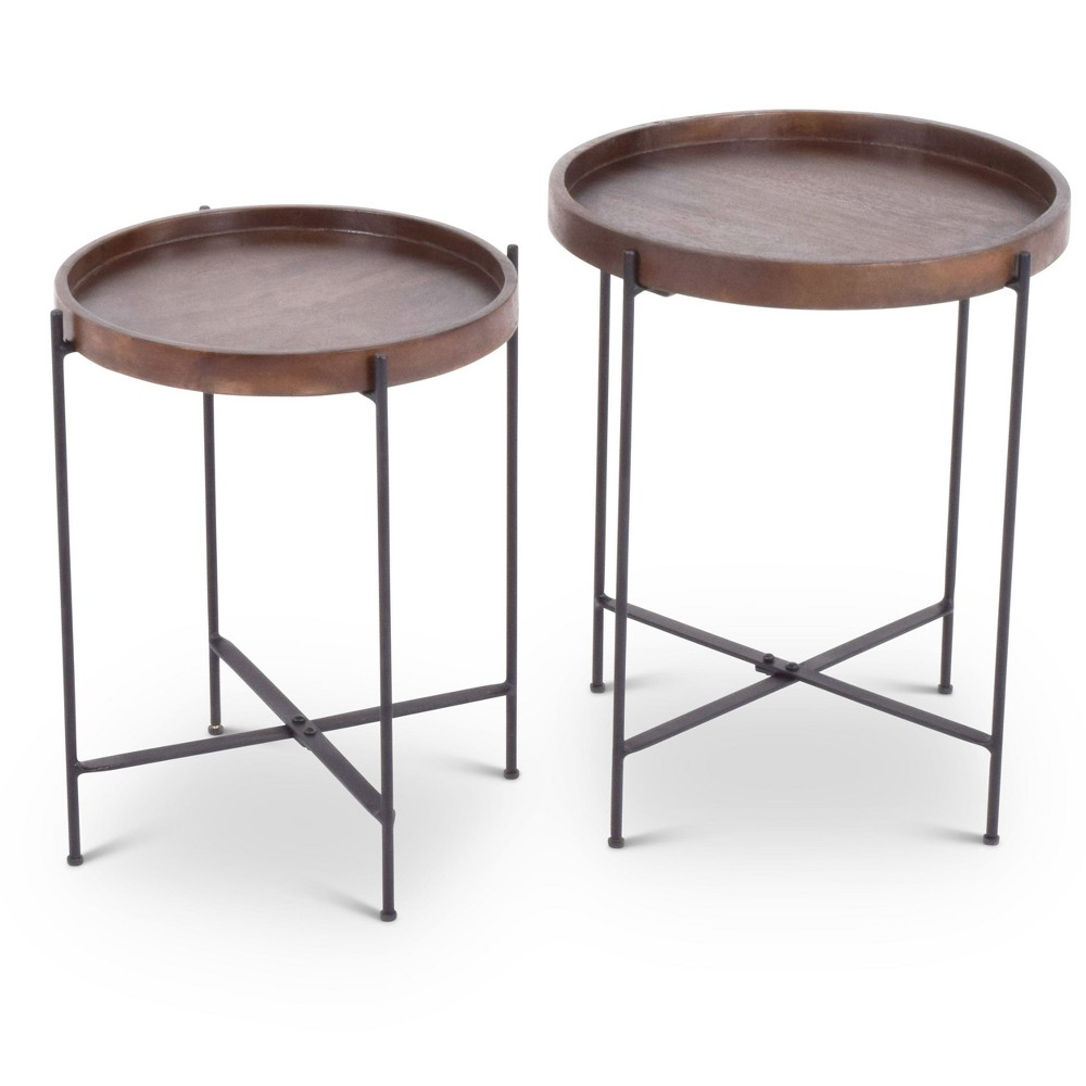 steve silver capri round accent tables mango wood with table target iron base set black metal and glass end industrial barn door kitchen knotty pine pipe legs battery touch lamp