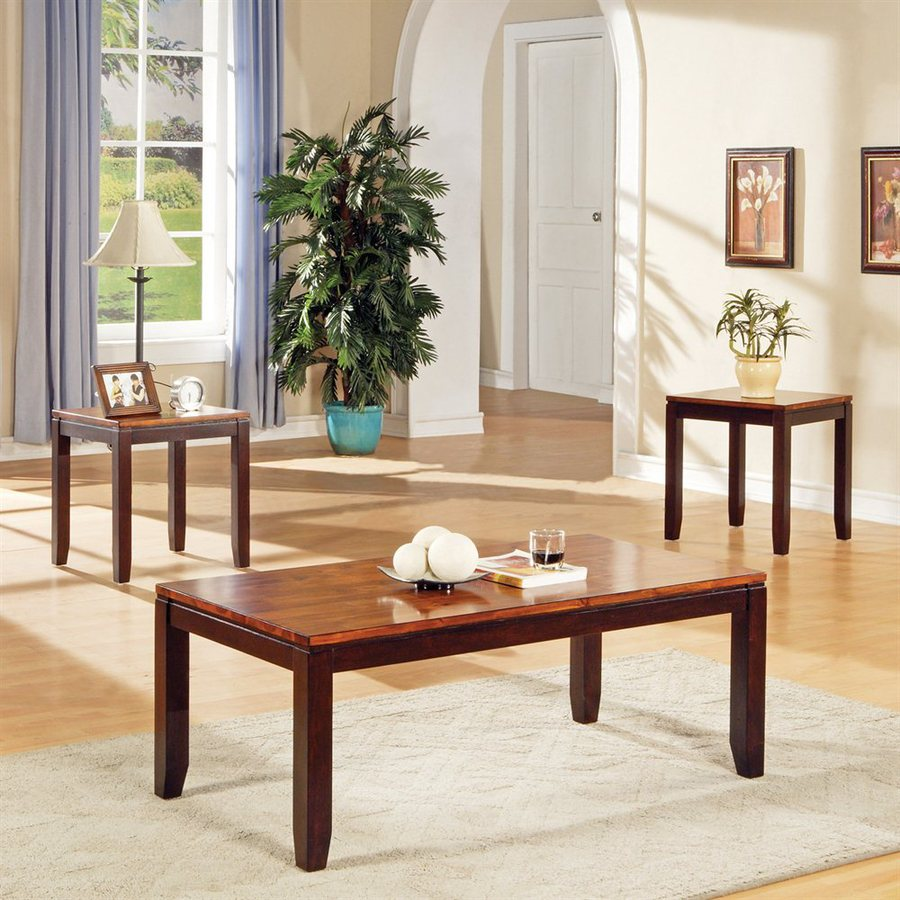 steve silver company abaco piece two tone cordovan cherry acacia coffee and accent table sets set small deck rattan furniture pottery barn round end wood trestle dining outdoor
