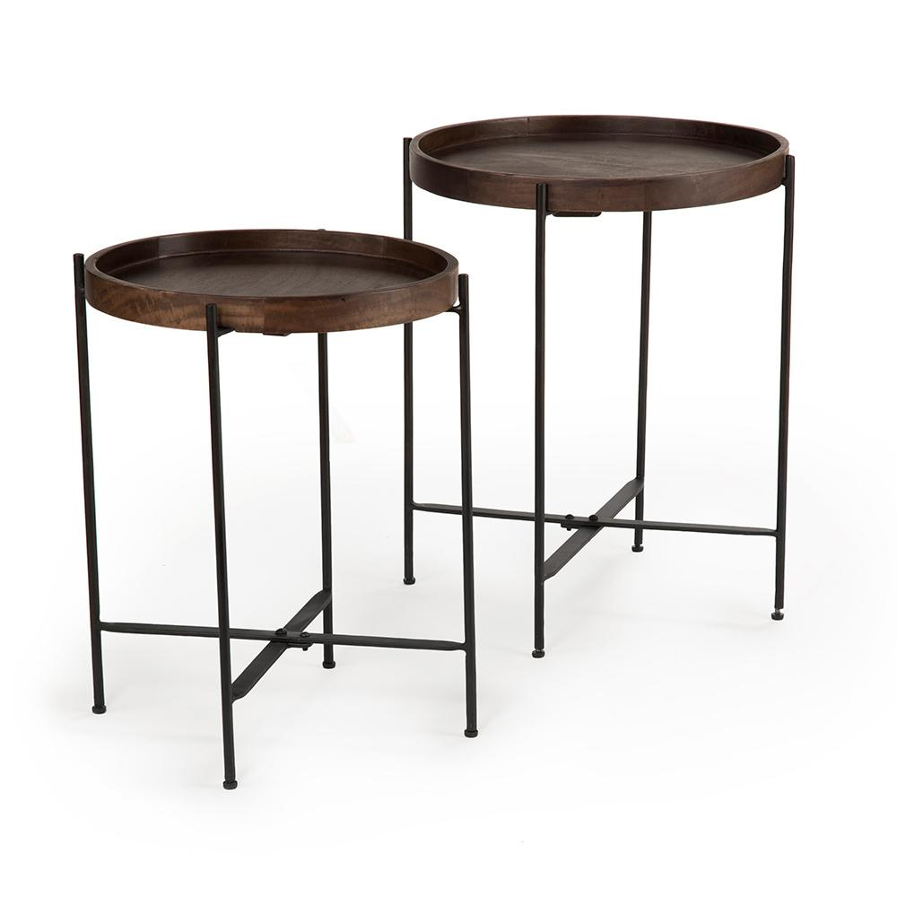 steve silver company capri brown round accent tables with mango wood end and metal table iron base set outdoor chair side pottery barn floor lighting rectangle glass coffee