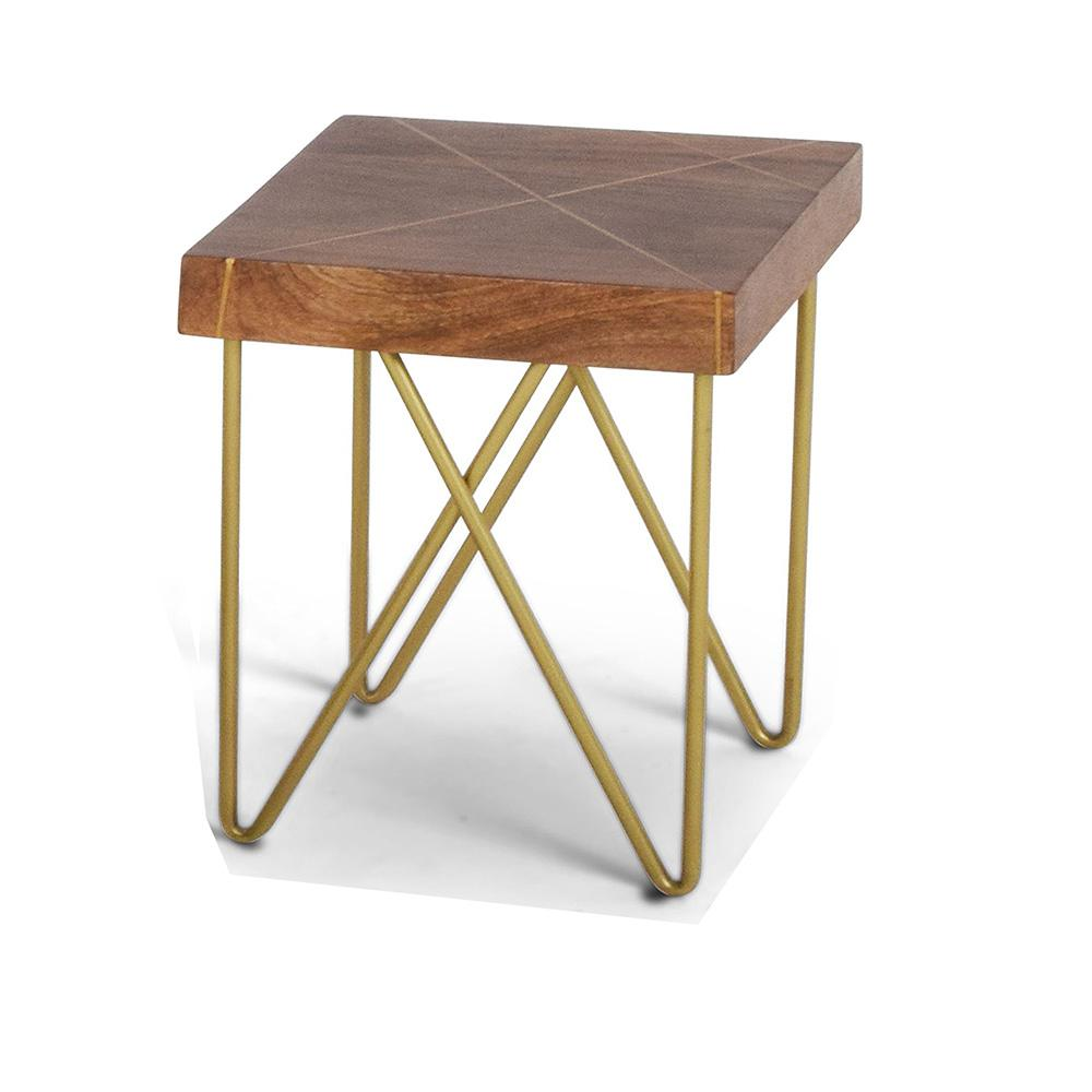 steve silver walter end table mango wood top with brass inlay and tables accent base high round brown console set mosaic tile coffee ikea fabric storage metal side nautical