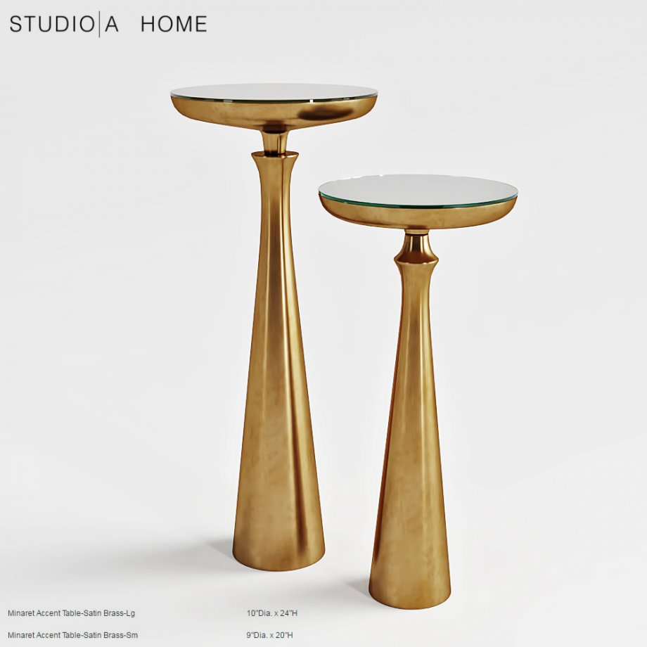 stidio home minaret satin brass small accent table model oval rustic white wood coffee keter ice cooler reading lamp night console cabinet mirrored bedside patio furniture side