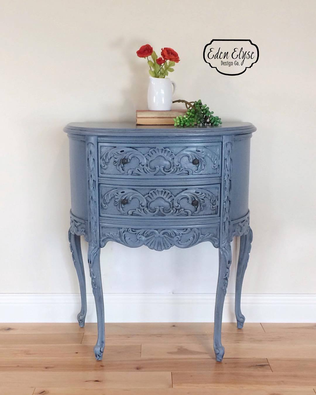 stillwater blue accent table general finishes design center scd chalk style paint erin eden elyse pitch black glaze effects high performance topcoat painted tables chests bent