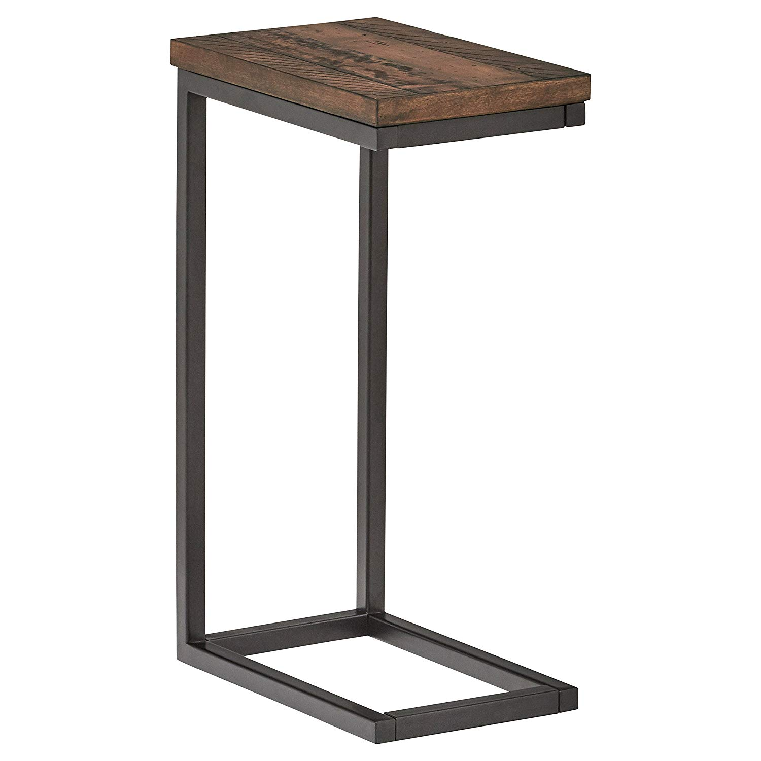 stone beam larson industrial wood metal shaped end accent table walnut kitchen dining lamp with usb port inexpensive round tablecloths grey coffee ikea oval side drawer red wine