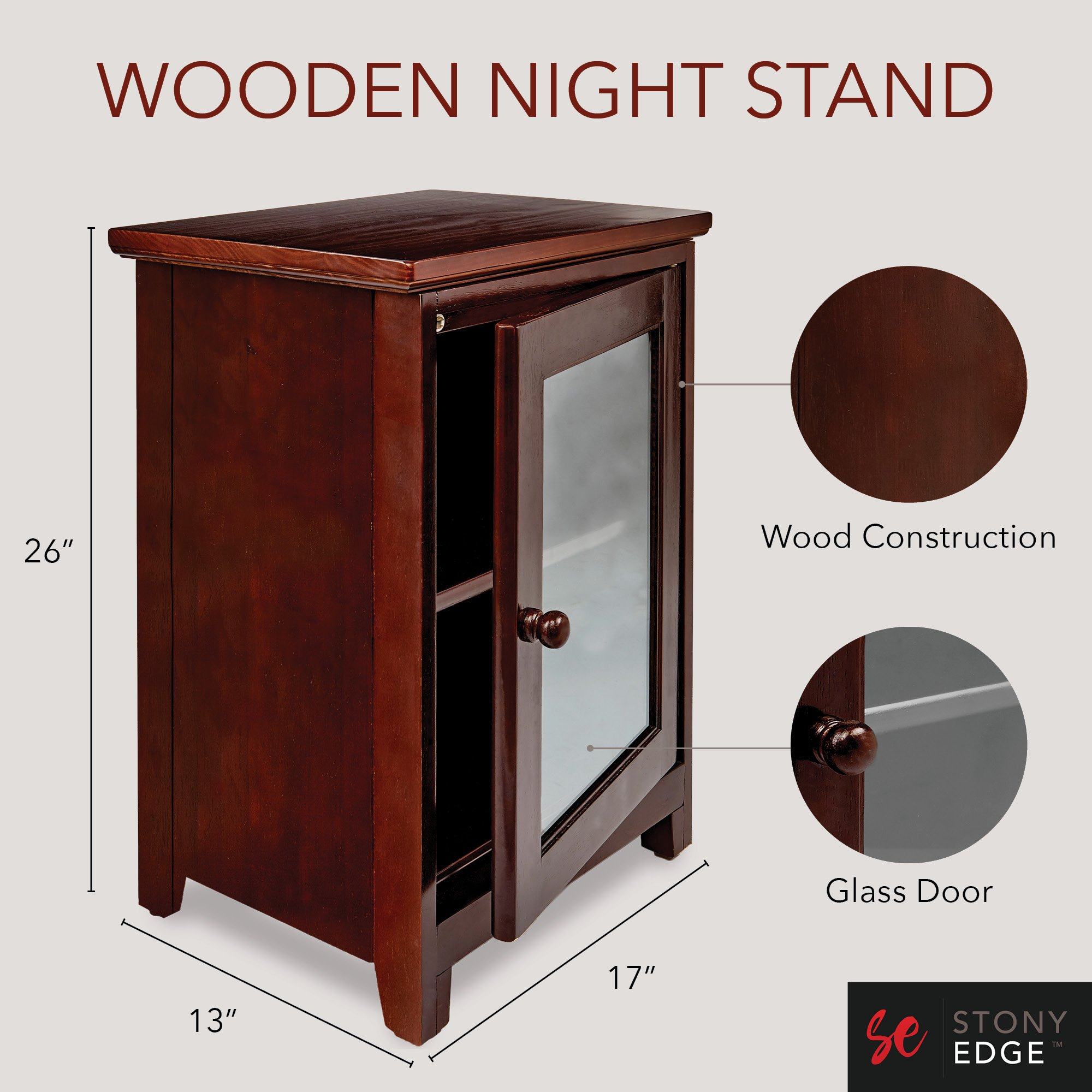 stony edge espresso night stand easiest assembly tools winsome wood beechwood end accent table required premium two shelf wooden bedside with glass door heavy duty tables and