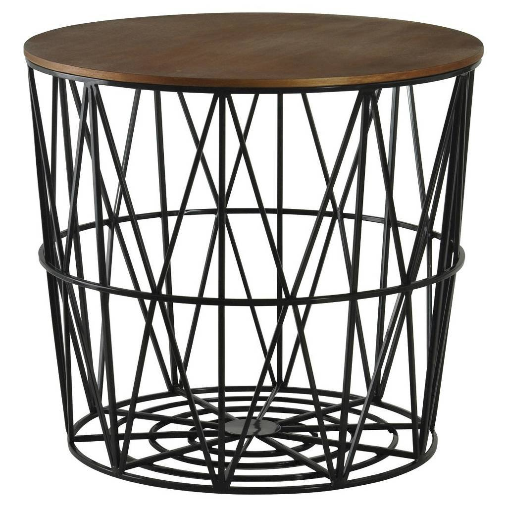 storage metal thresholdtm wicker round silver threshold swivel patio target table white accent drum drawer full size sitting room side tables lightweight concrete furniture pink