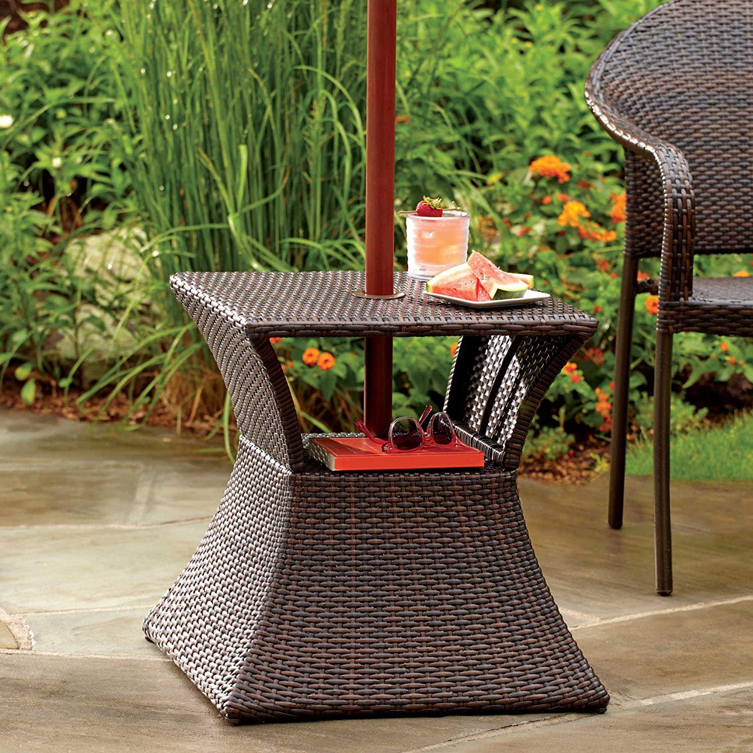 stratford umbrella stand side table with shelf wicker outdoor and steel frame garden jcpenney patio furniture height bbq black glass living room tables round iron solid wood end
