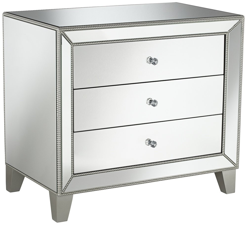 studio liza wide mirrored drawer accent table with drawers kitchen dining round drum end bedside charging station kohls wall clocks reasonably furniture globe lighting silver