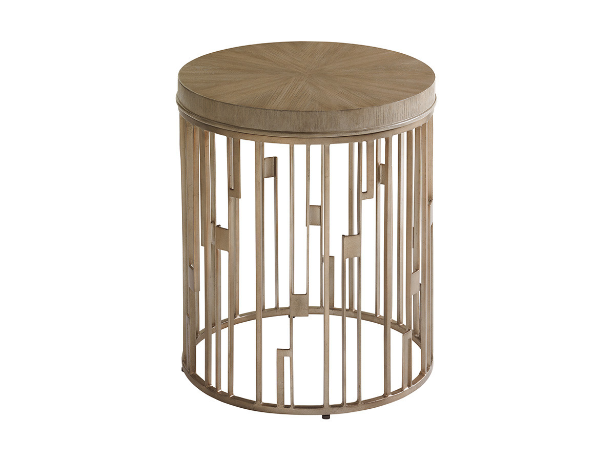 studio round accent table lexington home brands silo wood and metal shadow play patio with umbrella hole vintage style furniture antique pine end tables top lamps square legs