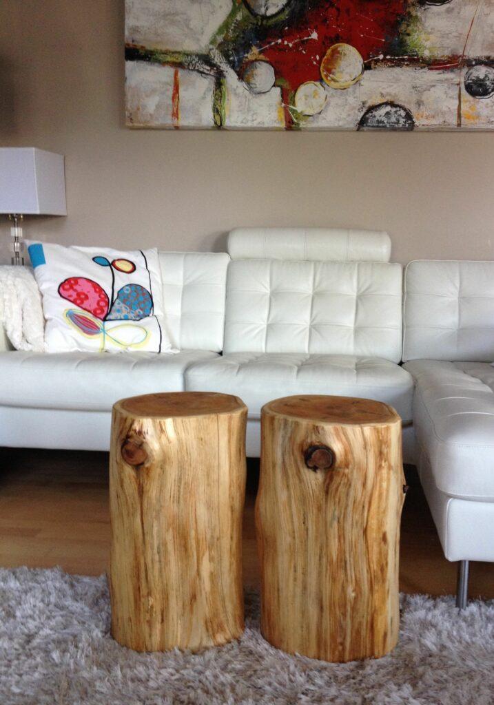 Stump End Table Cedar Coffee Serenitystumps Wood Cherry