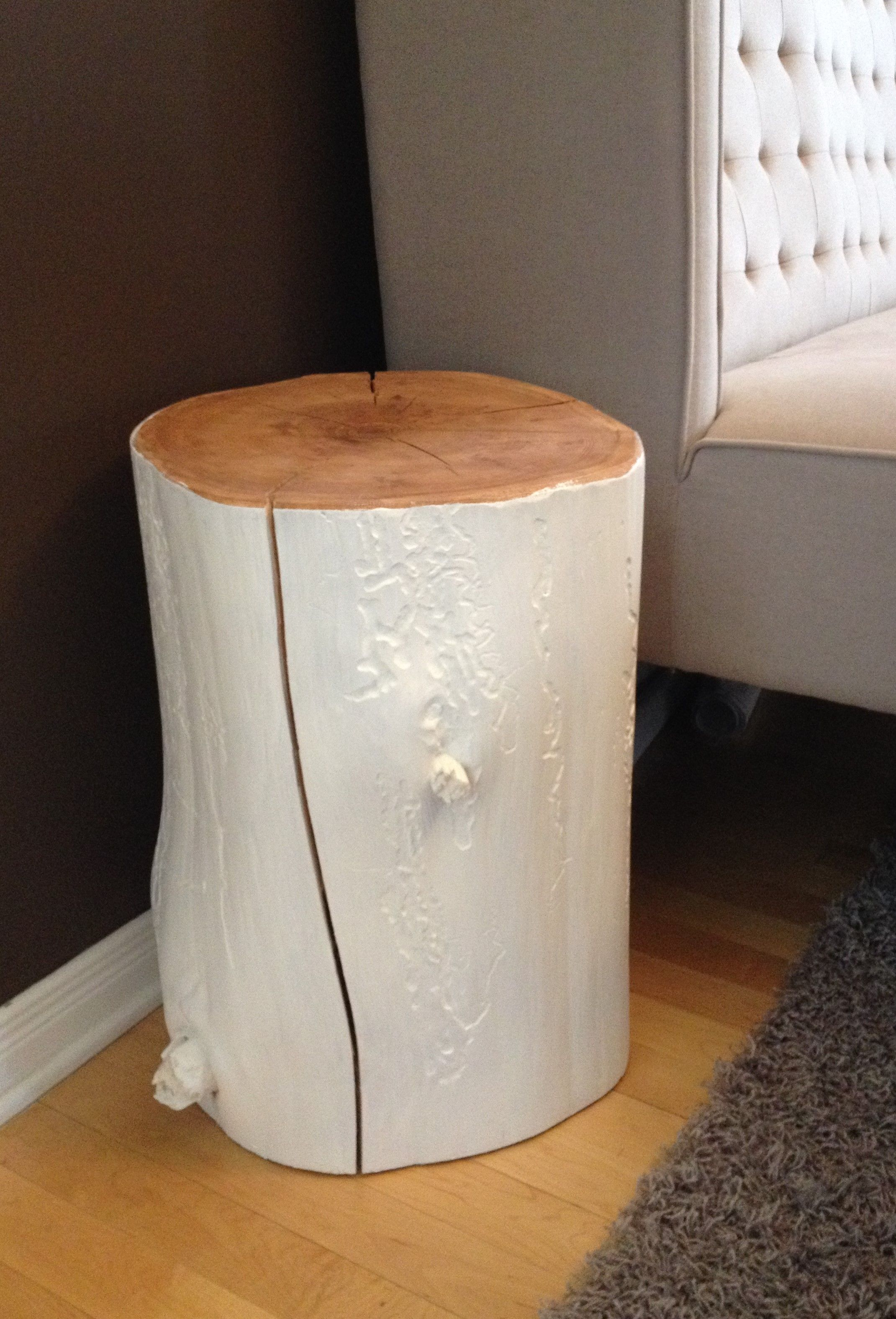 stump side table painted white log tables wood accent rustic tree trunk furniture end coffee root cherry set touch lamps modern decor ideas ikea outdoor chairs cream colored