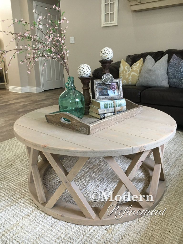 stunning handmade rustic round farmhouse coffee table just the accent right piece your home solid wood and treated with childrens garden furniture modern chairs navy blue bedside