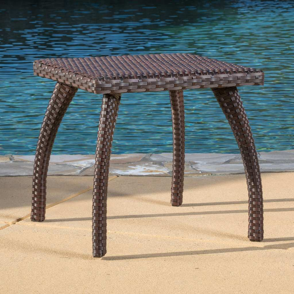 stunning outdoor wicker side table for source zen trendy woodridge brown accent stained glass standing lamp black and white decorations nic bench nesting sofa tables pedestal