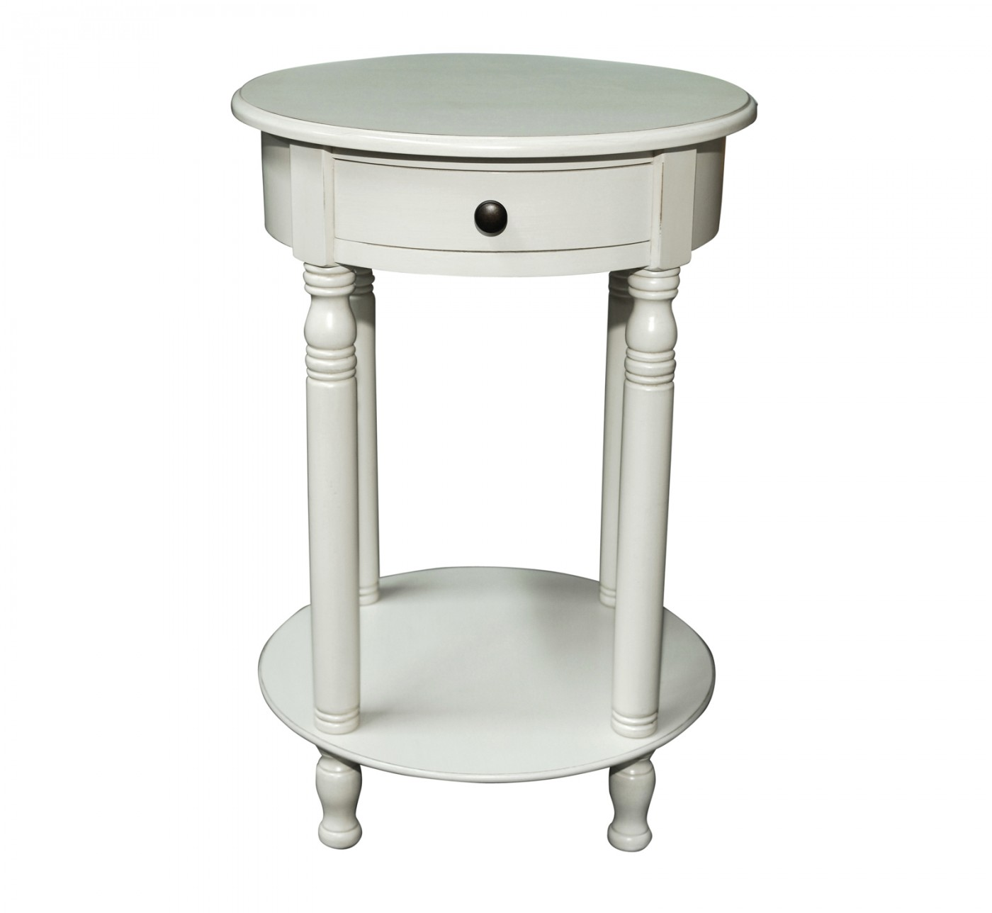 stunning white round end table solid wood material one drawer storage bottom shelf turned legs traditional style small accent with full size tables circular metal marble bedside