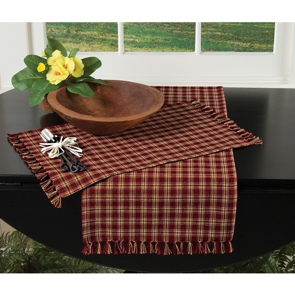 sturbridge plaid tabletop accents country style placemat table runner woven linens wine accent clearance tiffany lamps type gold and glass ethan allen leather furniture patio