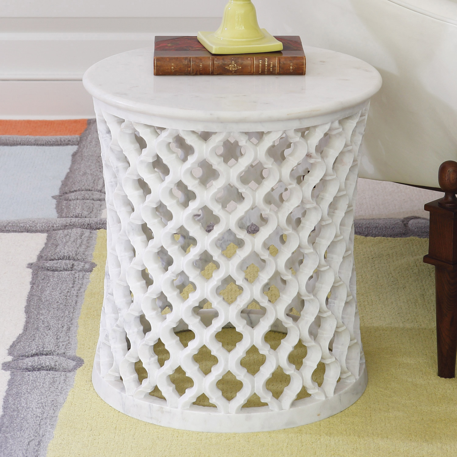 ... Stylish White Round End Table Marble Top Metal Base Material Argyle  Pattern Drum Design Contemporary Style ...