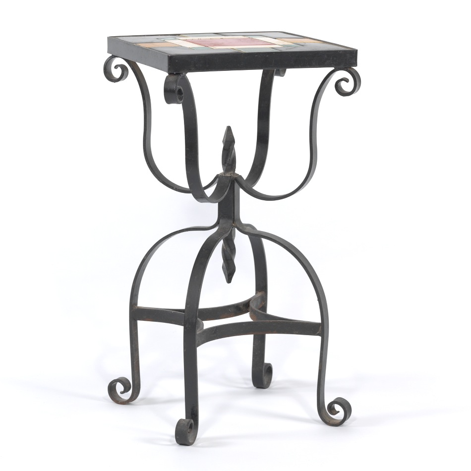 stylish wrought iron accent table with vintage tile top sold black pottery barn side chairs settee tables dining seats brass coffee computer for small spaces balcony and room only