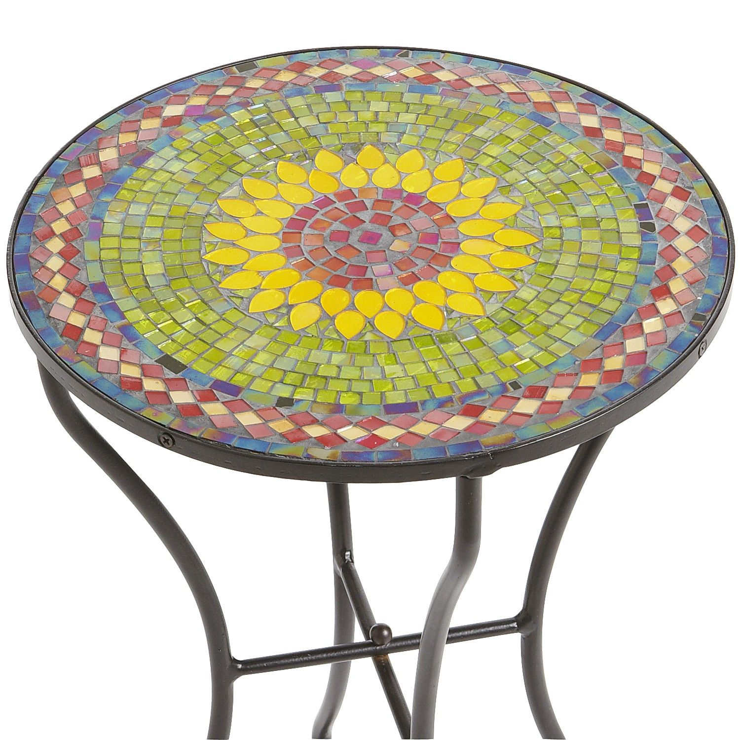 sunflower mosaic accent table pier imports bombay tables half round circular glass side ethan allen ballan oval coffee with shelf threshold teal home ornaments bunnings chairs and
