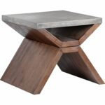 sunpan vixen end table concrete top acacia wood base accent dining room sofa tablecloth for round gray outdoor side furniture bedside tables penny tiffany style chandelier ashley 150x150