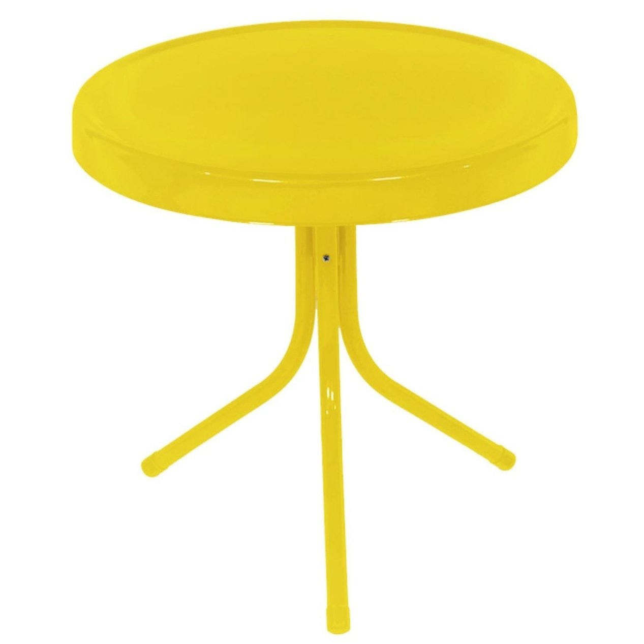 sunshine yellow retro metal tulip outdoor side table free accent shipping today oval glass top tall with storage battery desk light target desks and chairs pilgrim furniture