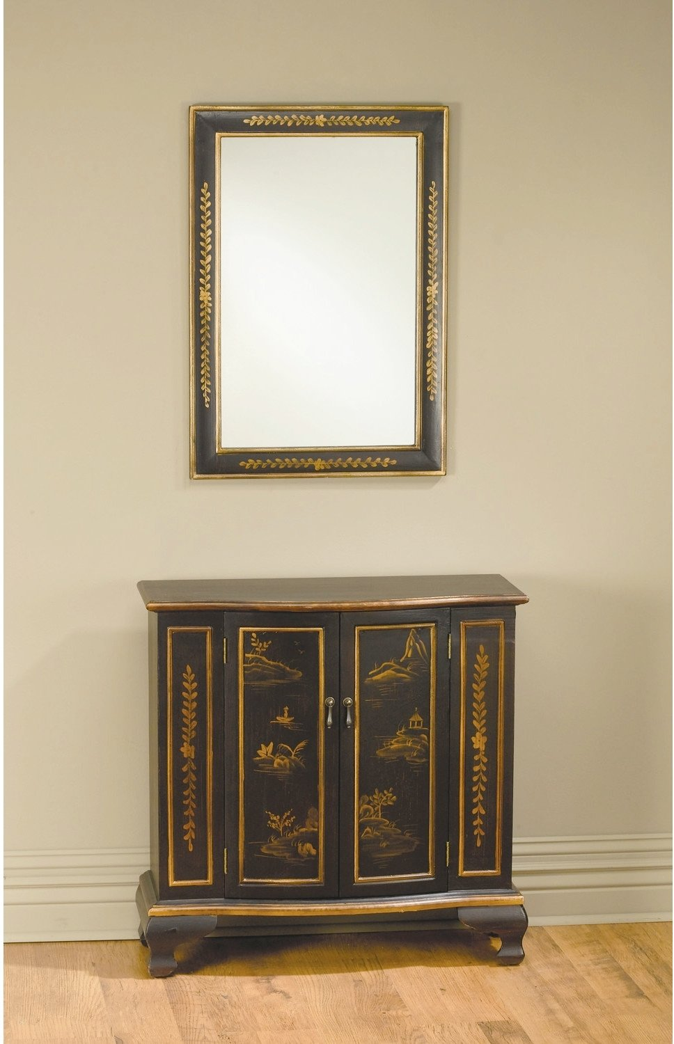 superior console table with mirror this oriental design set will give unique style your living room foyer entryway hallway the accent cabinet has and baby changer pottery barn