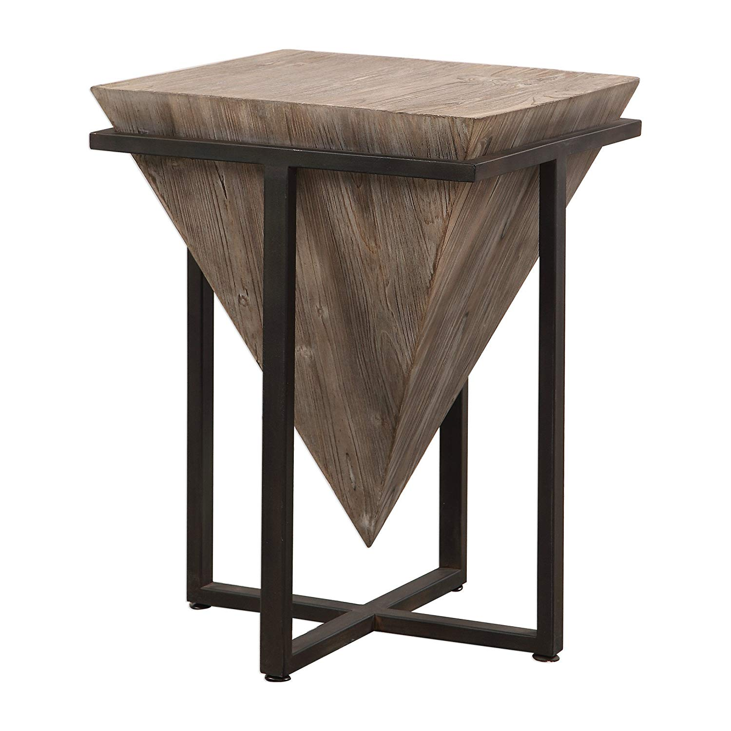 swanky home modern rustic industrial pyramid end wood accent table geometric iron block kitchen dining glass bar cabinet decoration accessories half moon tables furniture perspex