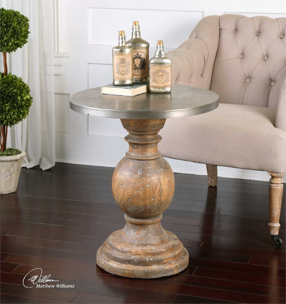 swanky home round column oak wood pedestal table uttermost dice accent contemporary silver top transitional kitchen dining carpet door threshold marble coffee and end tables drum