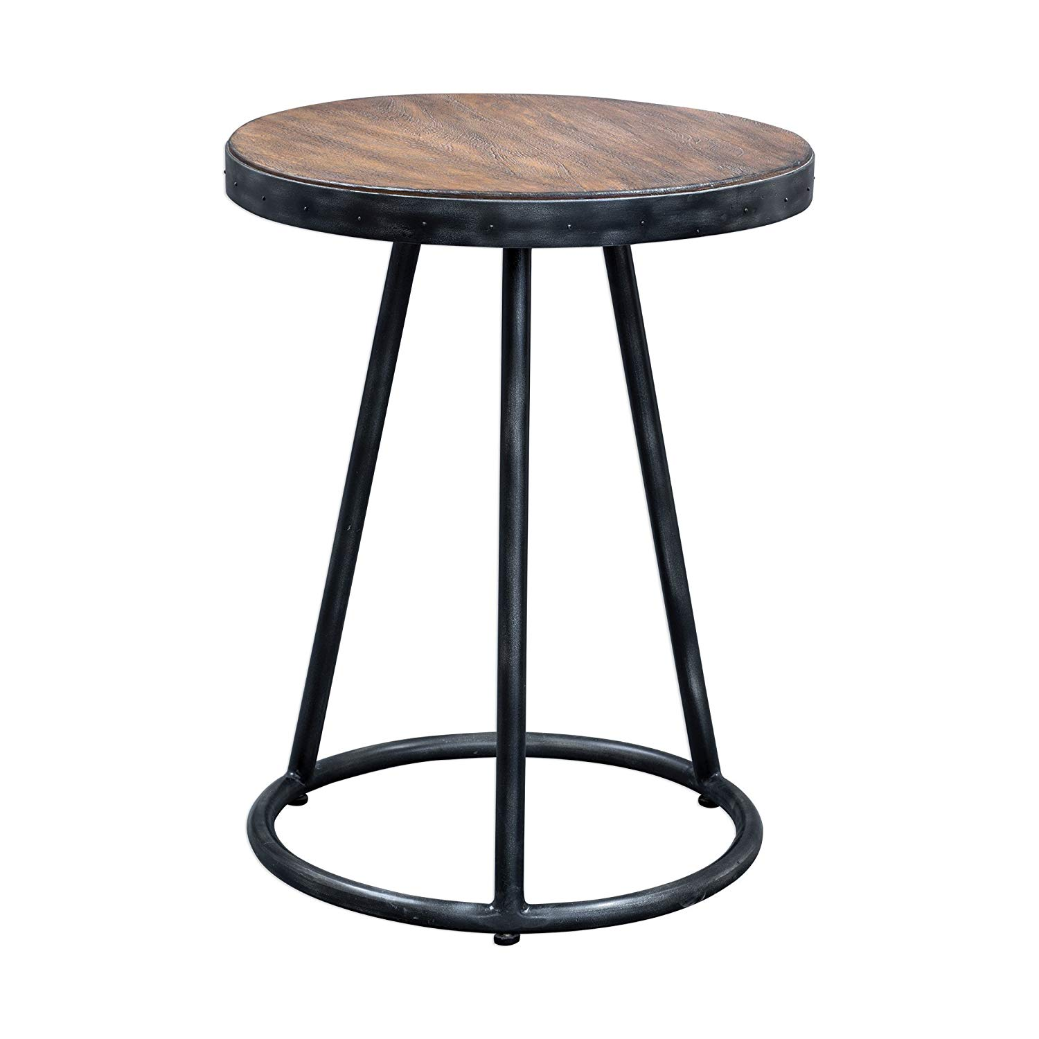 swanky home round industrial mini accent table dfl antique gold faceted with glass top riveted ring wood iron vintage style kitchen dining corner stand outdoor lounge chairs small