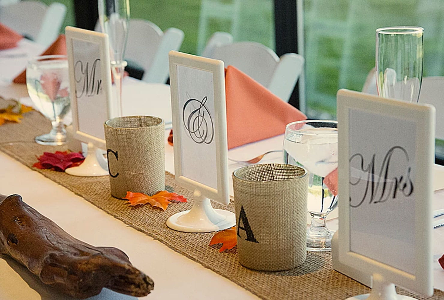 sweetheart table ideas for every season shutterfly autumn tones accent your focus runner with fall leaves and driftwood burlap accents oval wood coffee outdoor storage cabinet