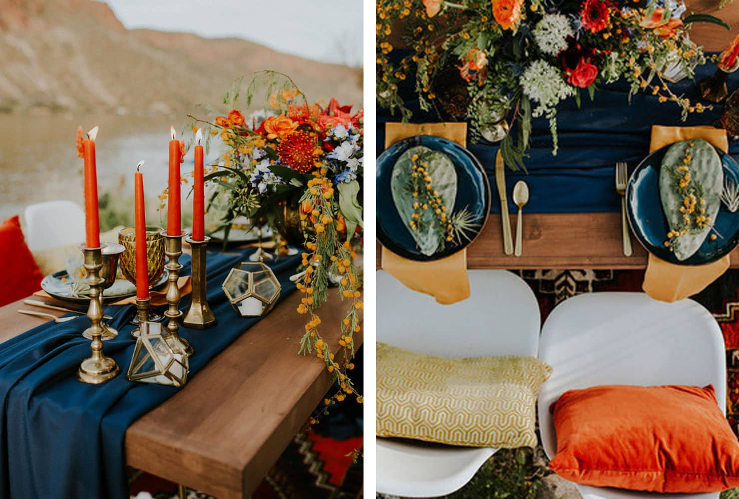 sweetheart table ideas for every season shutterfly pops color accent your focus runner dark blue and plates with orange florals candles piece nesting set patio door floor trim