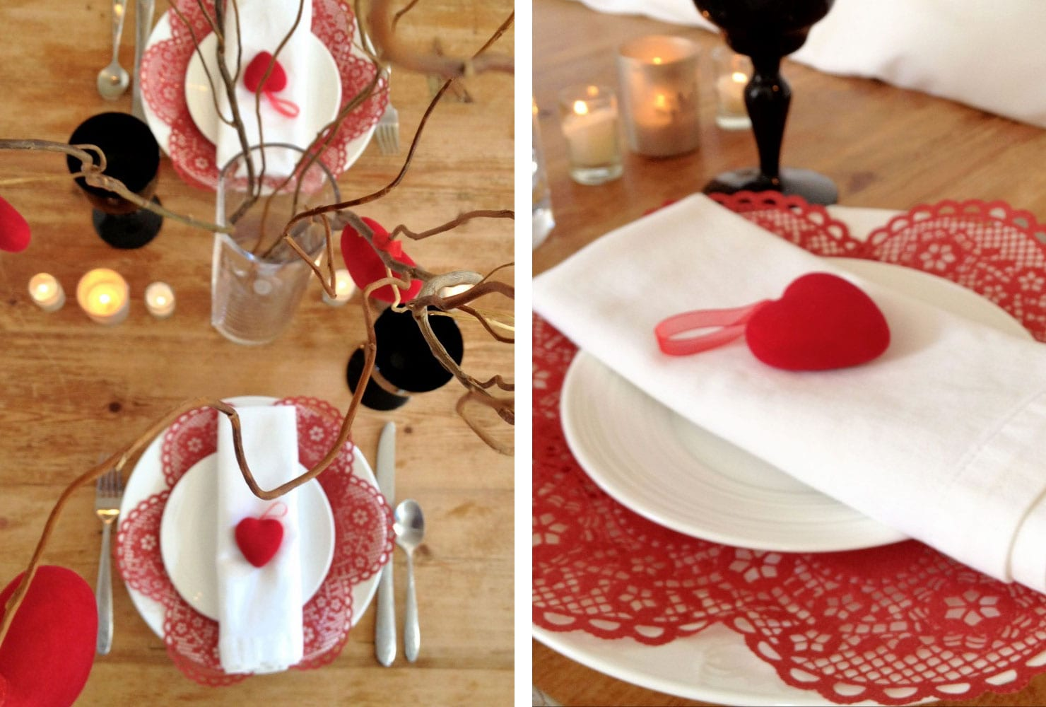 sweetheart table ideas for every season shutterfly valentine hearts accent your focus runner wooden with white plates and red heart accents target patio coffee narrow oak console