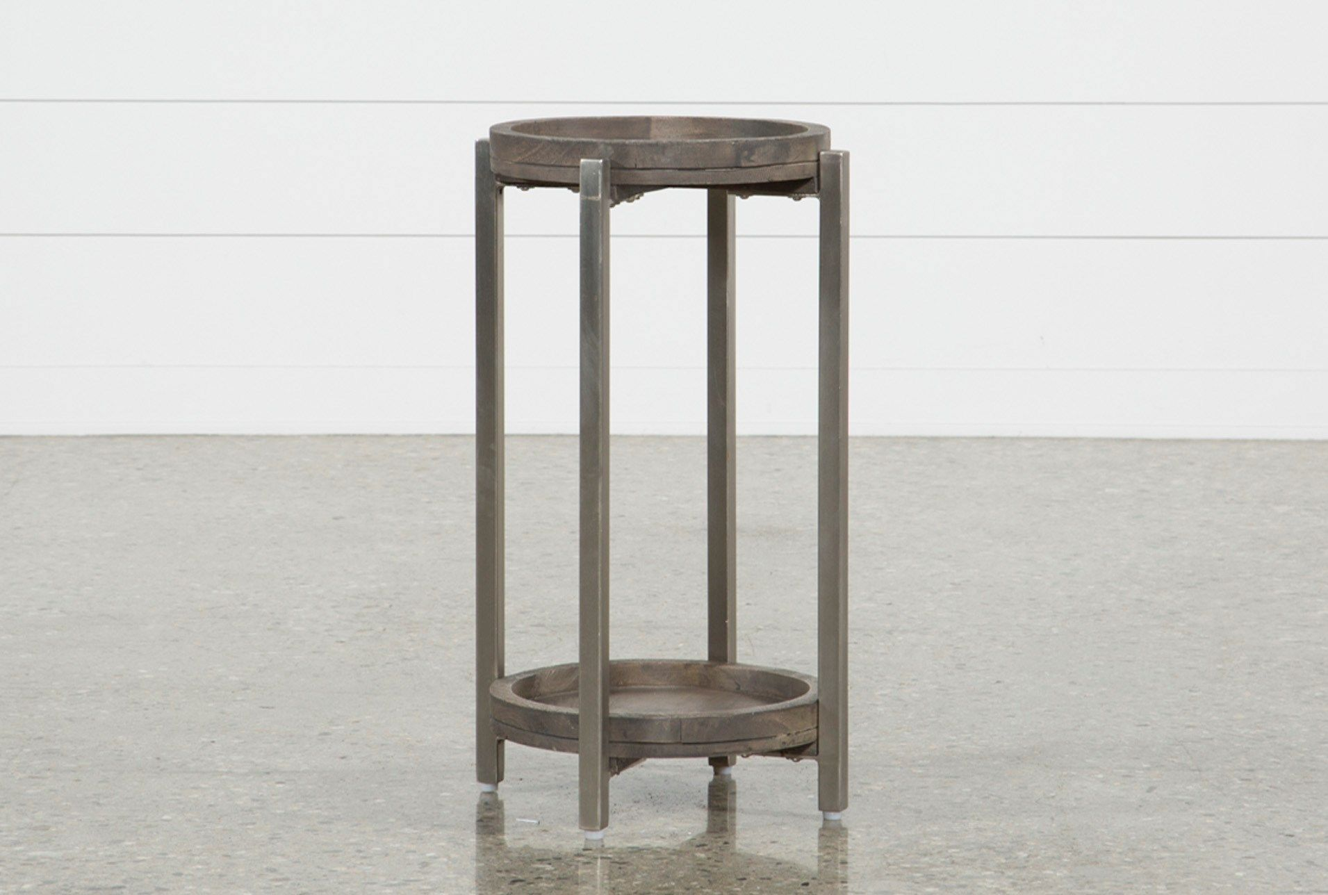 swell round accent table brown end tables rounding acacia wood mini true its name this just sleek nickel finished iron legs stand sturdy while drift oil brings natural lewis room