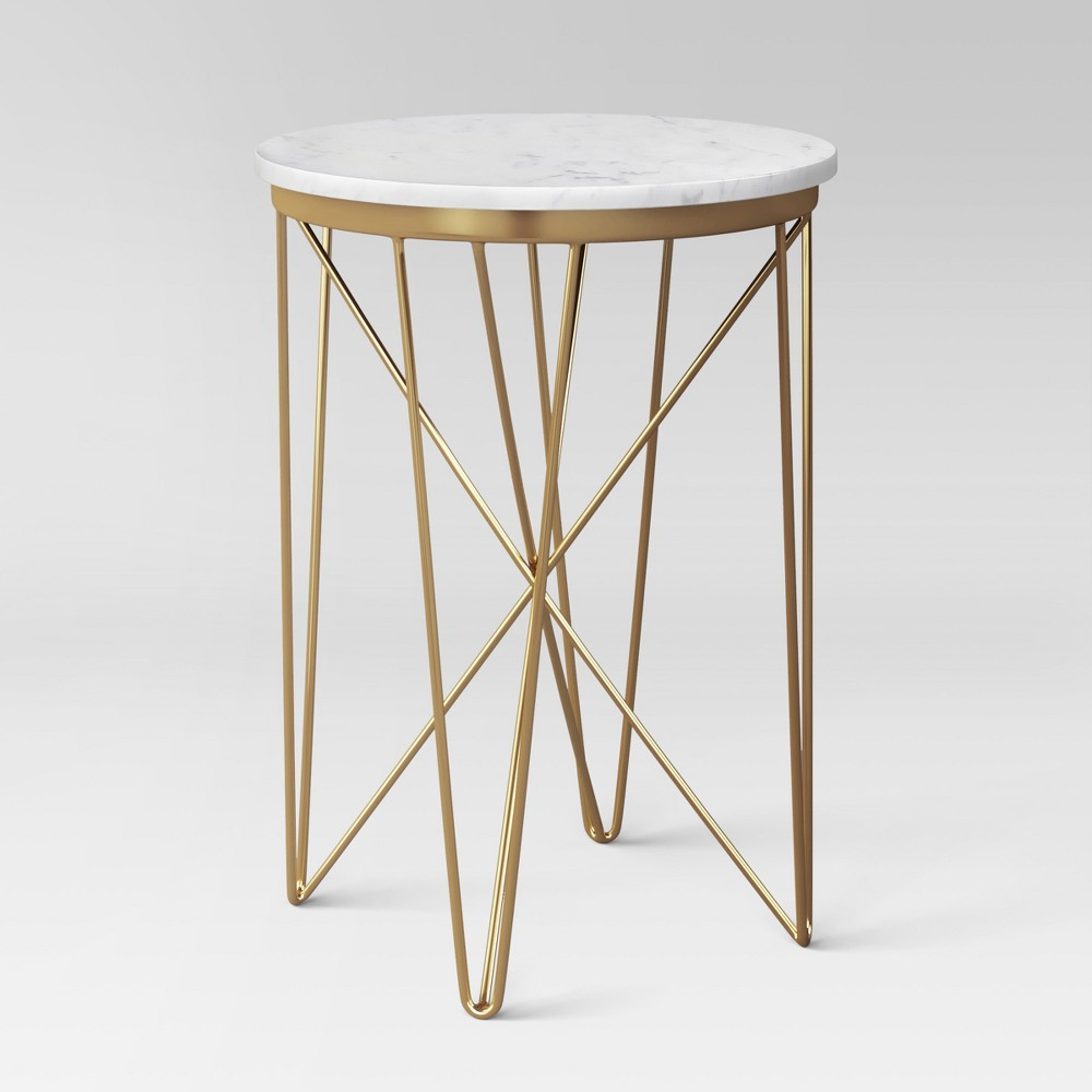 swoon worthy items from target new project melodrama accent table marble top round rose gold furniture pieces for living room wood and metal coffee end tables concrete outdoor