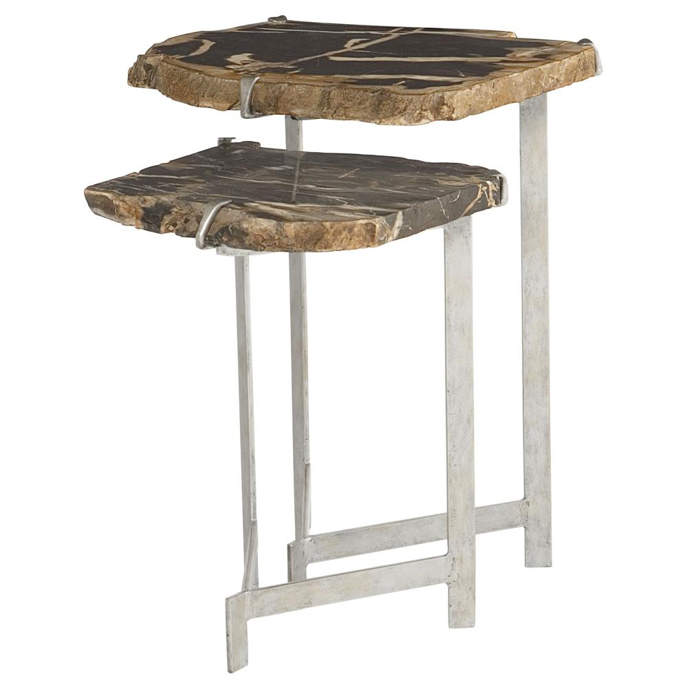 sybil industrial loft petrified wood nesting side tables elephant knurl accent set two youth furniture office desk corner table ikea mahogany dining chairs barnwood coffee plans