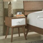 sylvia mid century white and walnut drawer nightstand inspire modern metal accent table free shipping today round glass dining outside end bedside chest drawers nautical bedroom 150x150