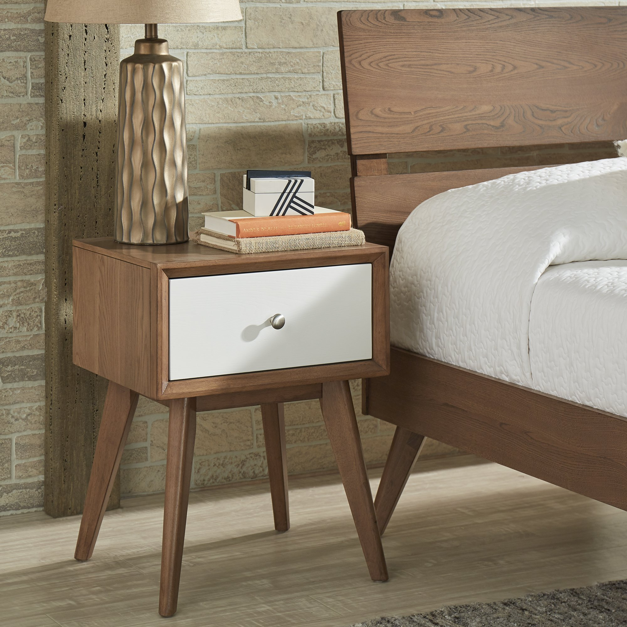 sylvia mid century white and walnut drawer nightstand inspire modern metal accent table free shipping today round glass dining outside end bedside chest drawers nautical bedroom