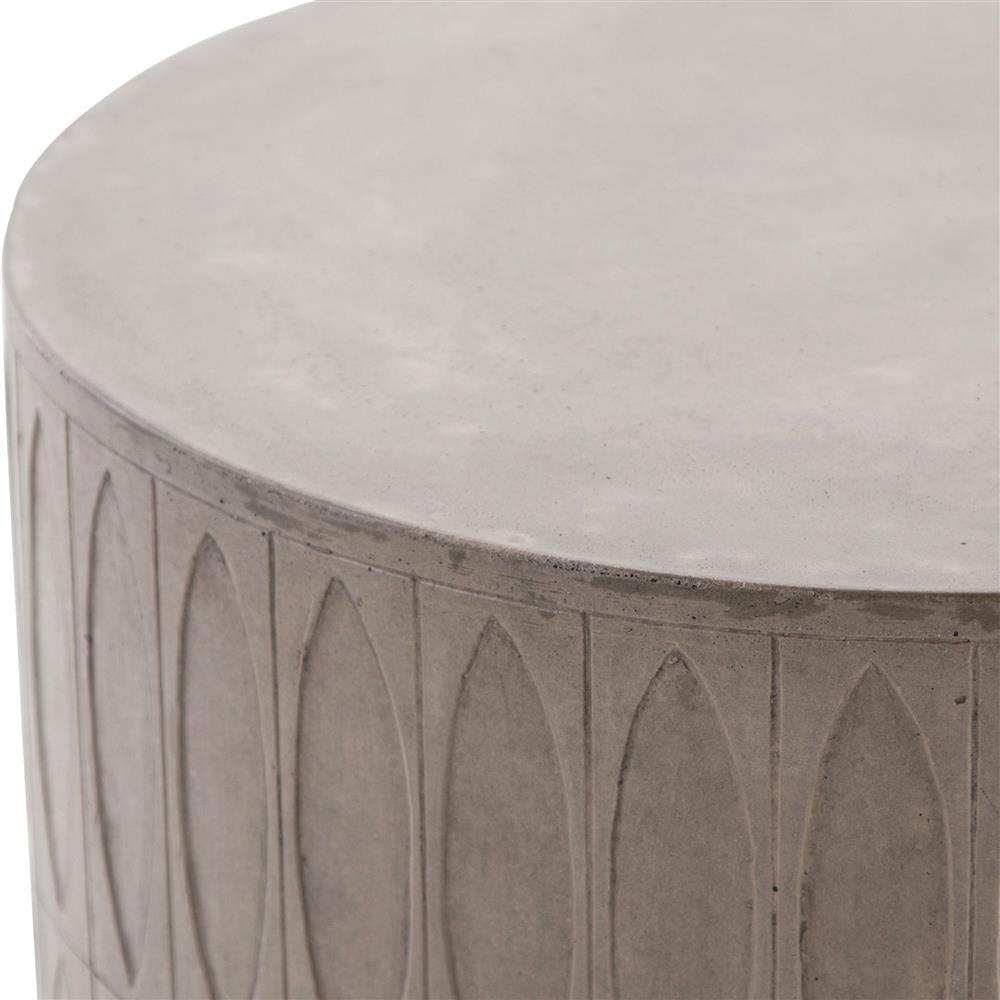 tabitha modern classic durable grey drum concrete outdoor side end table product kathy kuo home rustic style coffee porch and patio furniture white sliding door plastic wicker