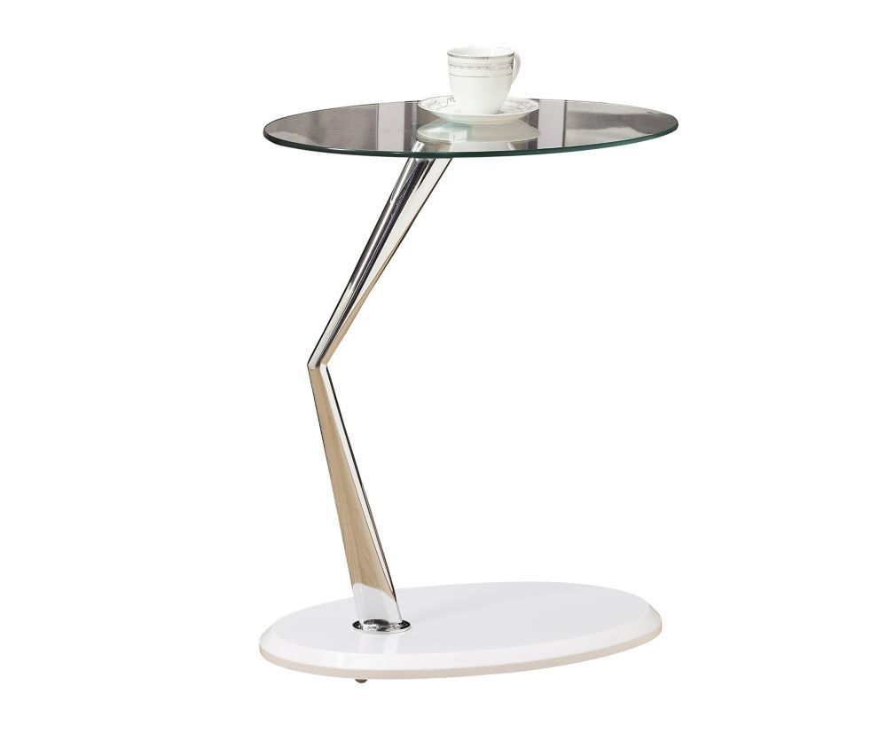table appoint blanc lustre chrome avec verre trempe tables monarch bentwood accent with tempered glass specialties glossy white edwards furniture umbrella side large numeral clock
