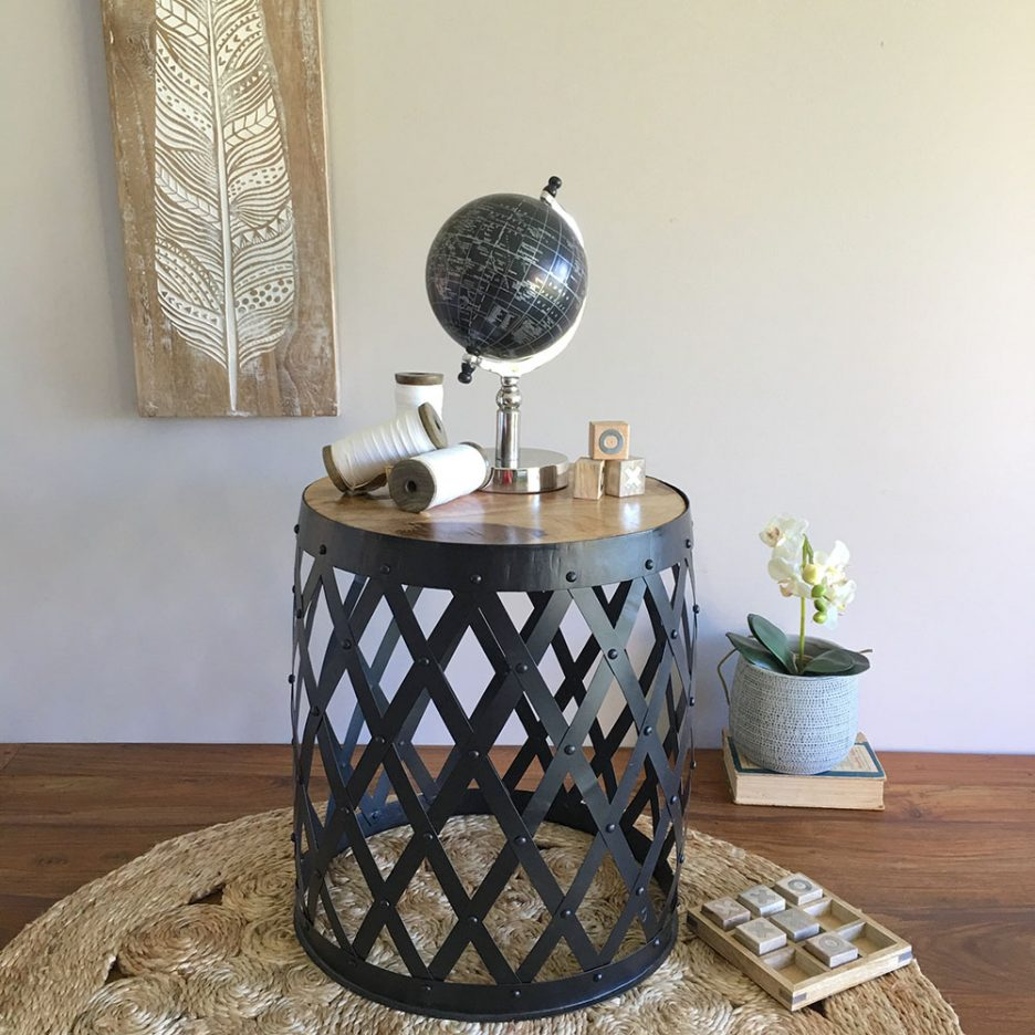 table drum wood accent silver side black gold target grey wall clock tall with storage small metal patio display coffee pottery barn kitchen sets kidney nautical hanging light