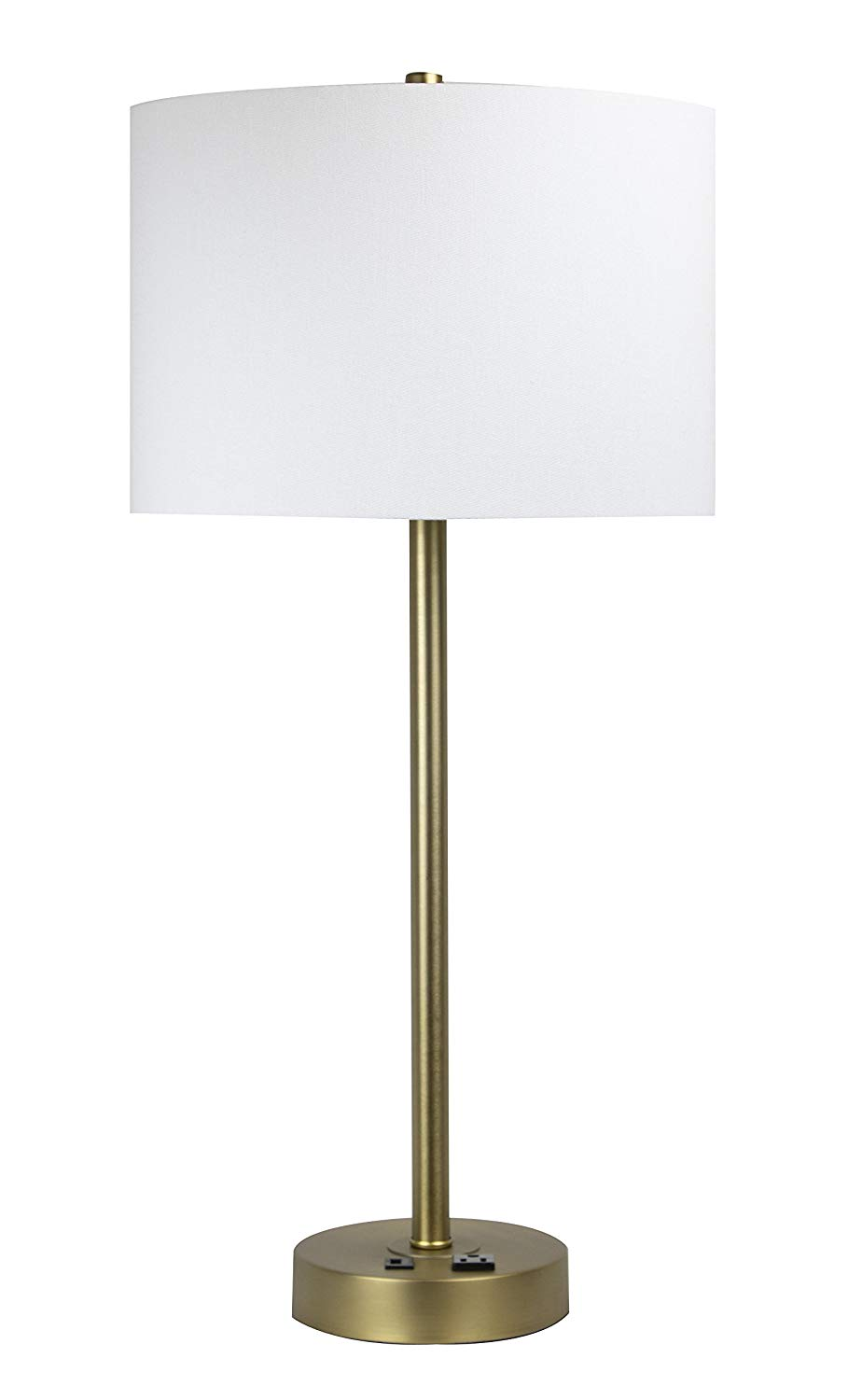 table lamp with usb port and power find heyburn brushed steel accent grandview gallery plated gold off white shade contemporary coffee tables toronto ikea garden shed storage