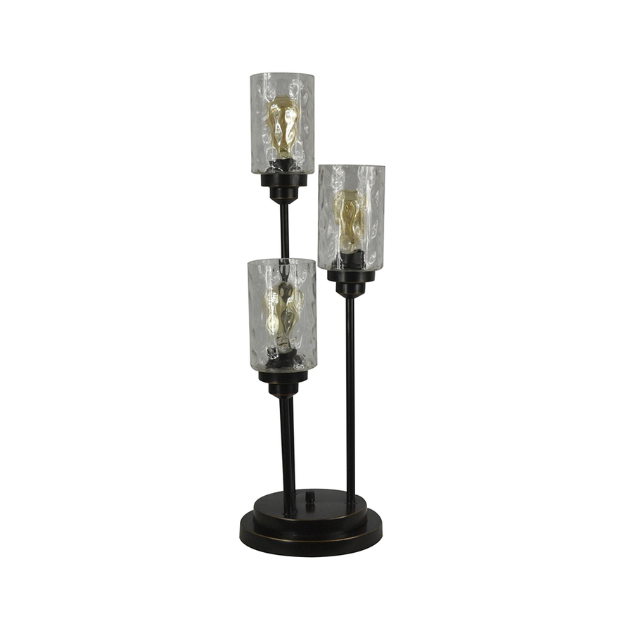 table lamps battery operated accent allen roth latchbury bronze lamp with glass shade silver folding end ballard designs office gray nest tables percussion stool simple modern