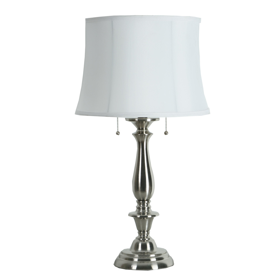 table lamps battery operated accent allen roth woodbine brushed nickel electrical lamp with fabric shade crystal floor silver mosaic chairs and tables dining room centerpiece