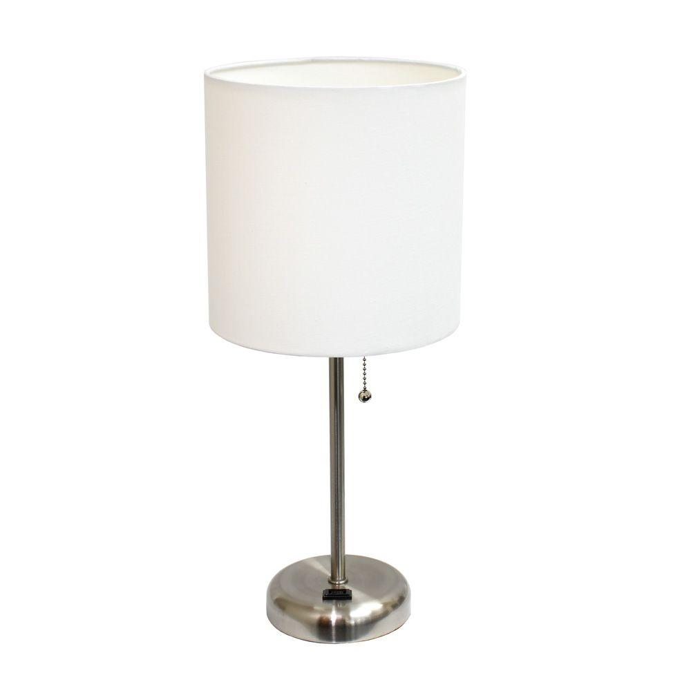 table lamps the white shade brushed steel base limelights wht miniature accent stick lamp with charging dining clearance great furniture inch wide nightstand antique folding side