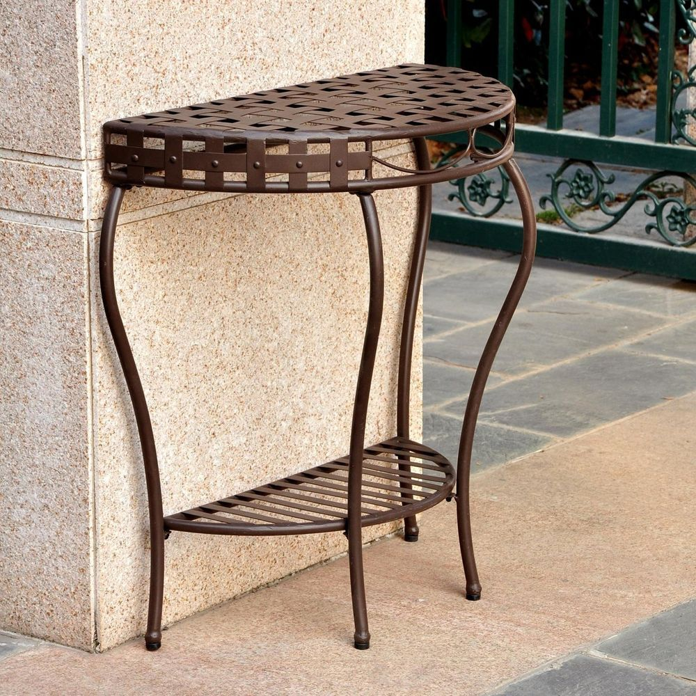 table outdoor half moon wrought iron patio console tier basket accent weave design internationalcaravan small coffee designs white bedside nautical lamp shades side end antique