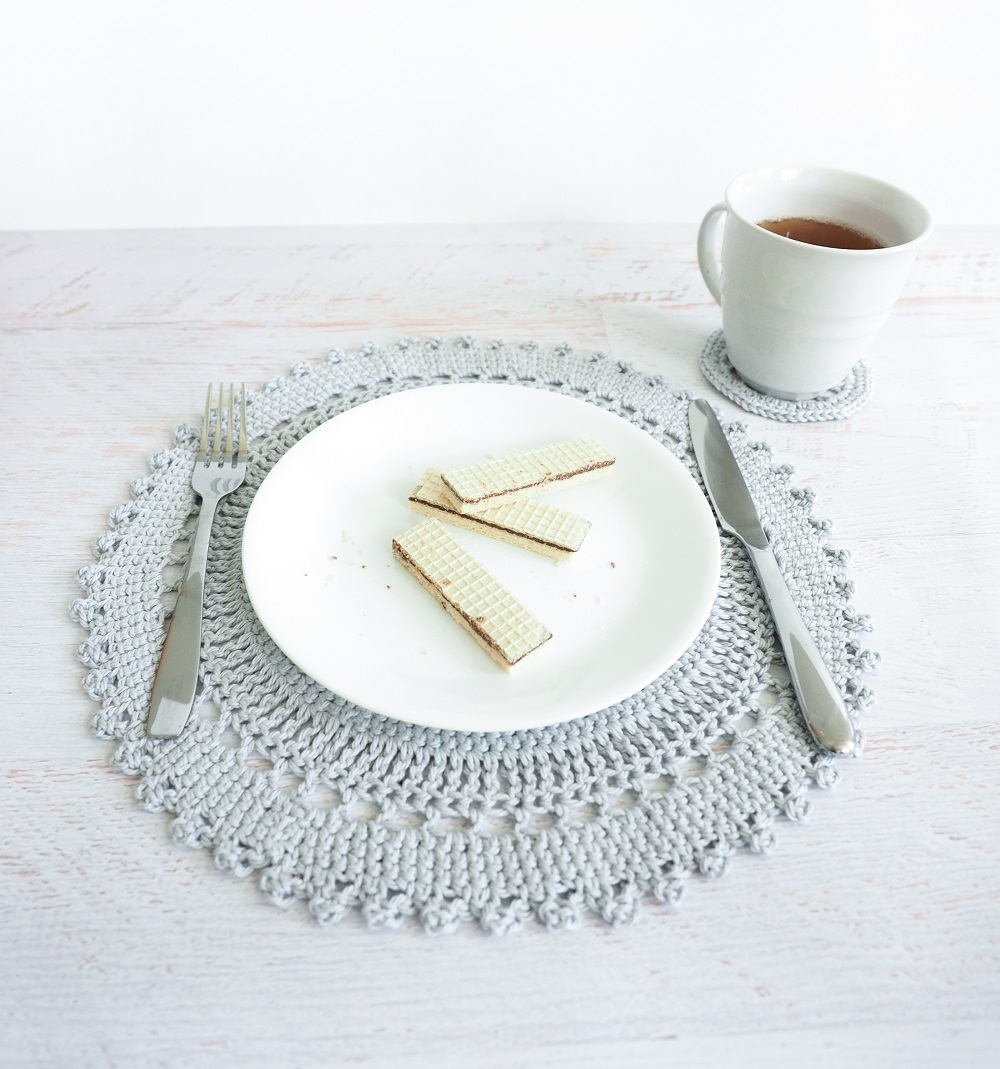 table placemat set crochet pattern cream the crop accent placement includes intricate crocheted and coaster these delicate ikea bathroom storage corner entryway furniture what