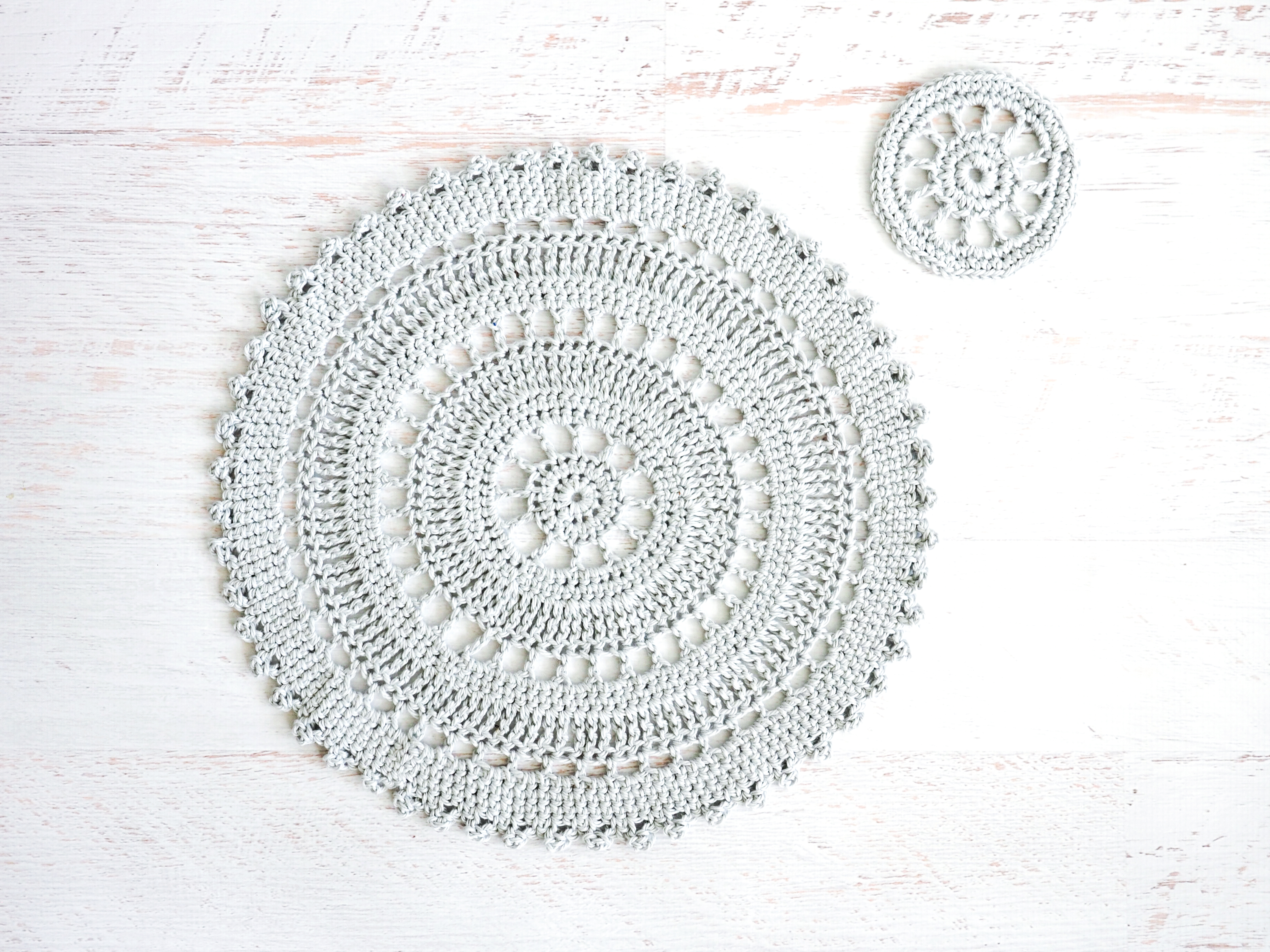 table placemat set crochet pattern cream the crop accent placement includes intricate crocheted and coaster these delicate plastic patio lime green outdoor side white washed wood