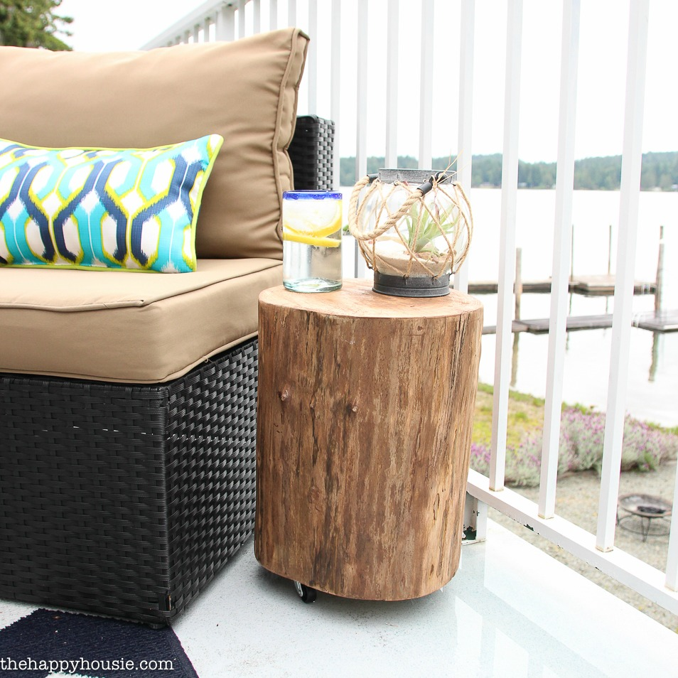 table protector mat the perfect cool wood stump end ideas diy outdoor rolling side happy housie square stool tutorial tree target patio furniture for small patios white and gold