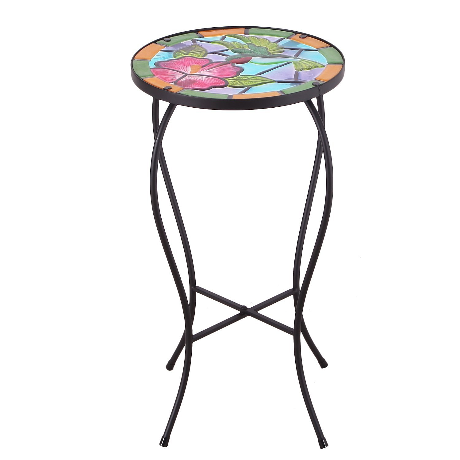 table top plant stand find bella green mosaic outdoor accent get quotations homebeez indoor standard round side end glass and metal nest tables rattan patio furniture garden chair