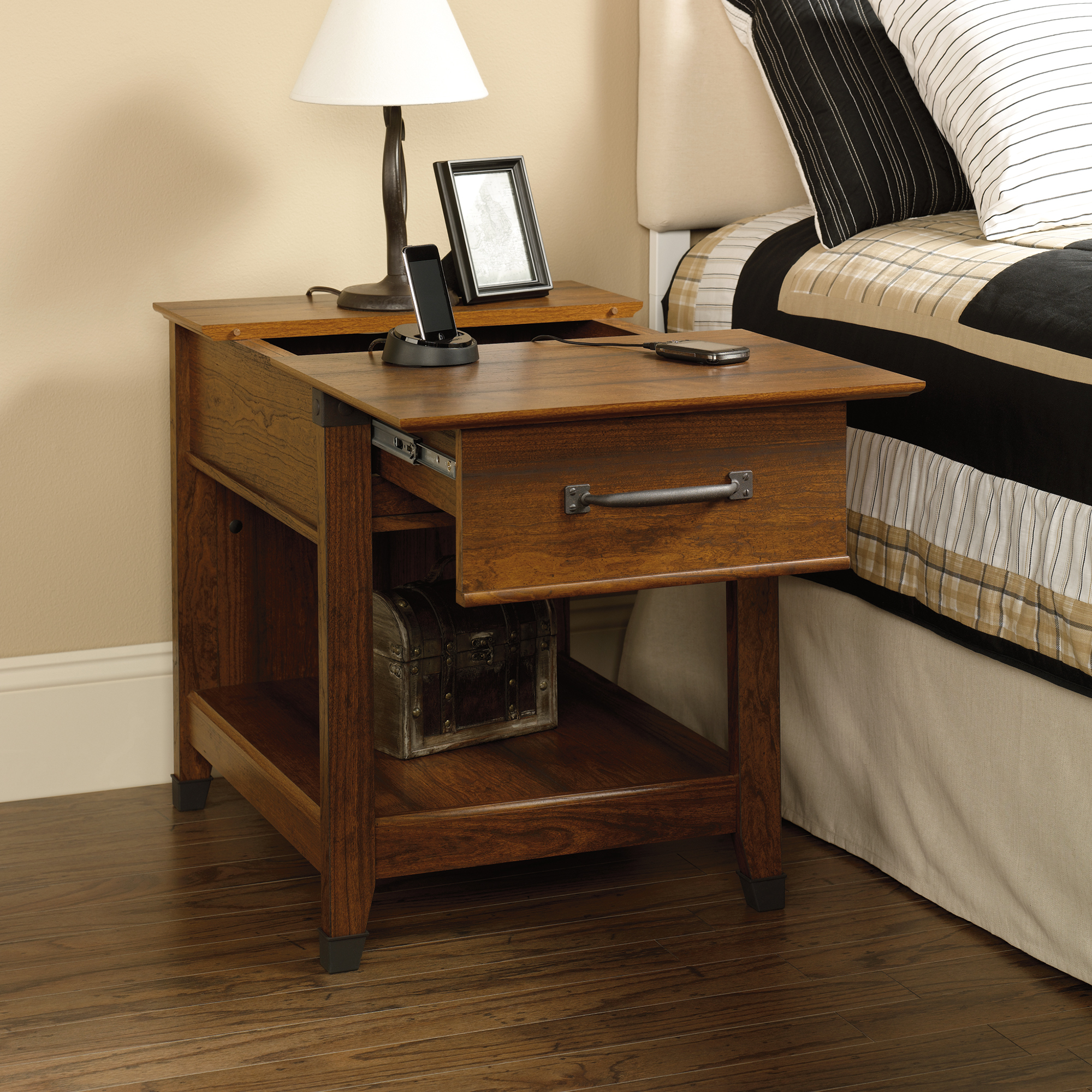 table with charging station loris decoration accent tables carson forge end wooden side designs champagne mirrored furniture pub bar half moon console pineapple lights farmhouse