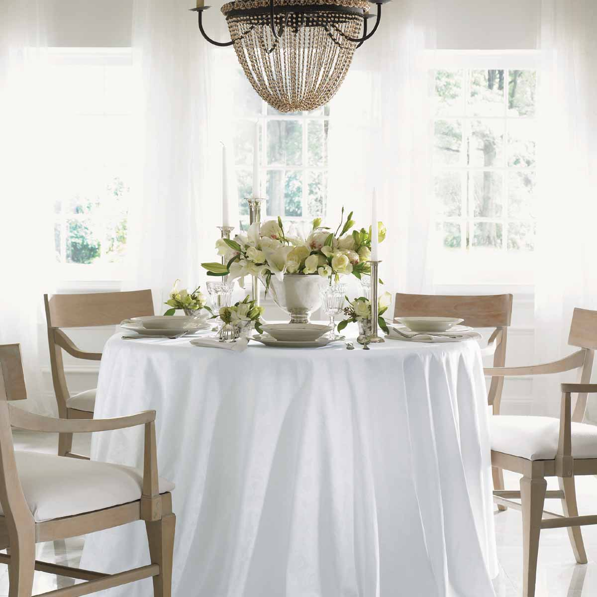 tablecloths fine linen cotton damask embroidered acanthus artistic accents tablecloth gracious style wooden table trestles door cabinet luxury dining room furniture target corner